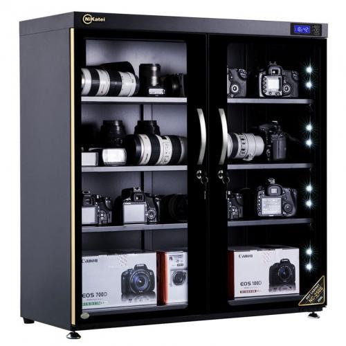 Tủ chống ẩm cao cấp Nikatei NC-250S viền nhôm mạ vàng